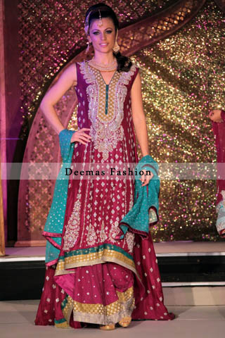 Latest Bridal Fashion Dark Pink Back Tail Frock Sharara