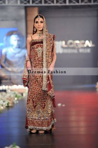 Latest Deep Red Bridal Wear Gown