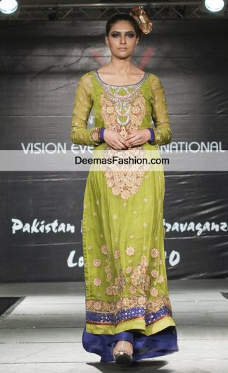 Latest Bridal Mehndi Wear Mehendi Green Royal Blue Party Dress