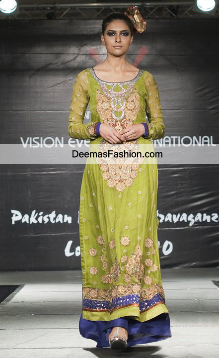 Mehndi Party What To Wear : Latest bridal mehendi green royal blue party dress
