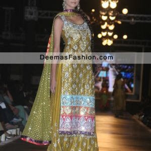 Latest Pakistani Bridal Wear Dress Mehndi Green Sharara