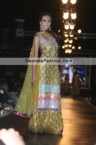 Latest Pakistani Bridal Wear Dress Mehndi Green Sharara