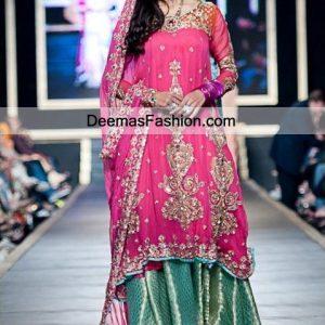 Latest Pakistani Fashion 2011 Shocking Pink Sea Green Sharara