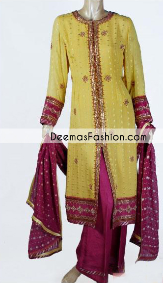 lemon-yellow-dark-pink-casual-front-open-dress1