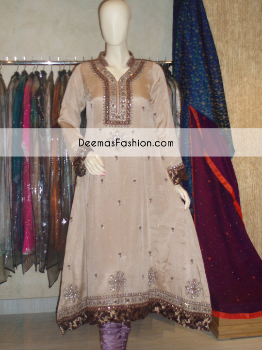Light Brown Aline Anarkali Frock Churidar Dress