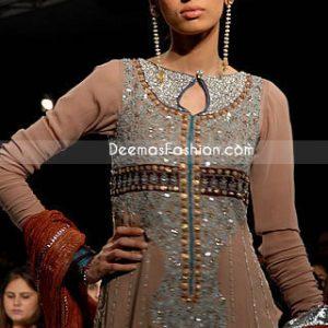 Latest Pakistani Style - Light Brown Anarkali Outfit