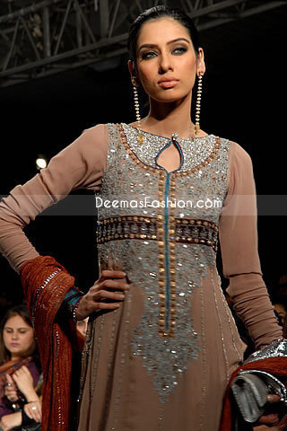 Latest Pakistani Style – Light Brown Anarkali Outfit