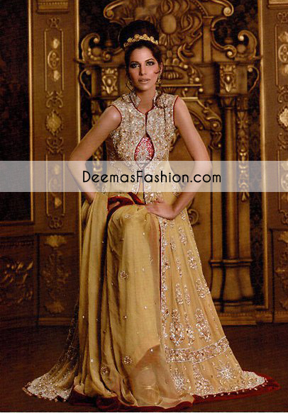 Light Golden Anarkali Pishwas Open Gown Red Sharara