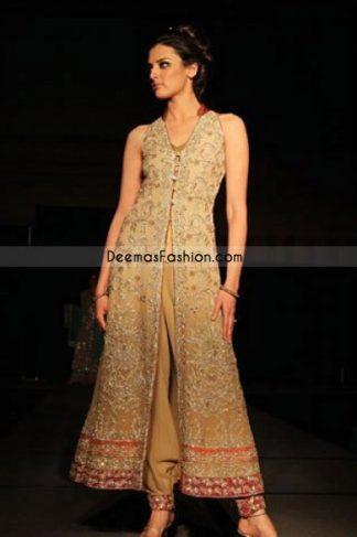 Pakistani fashion clothing-Light Golden Open Shirt