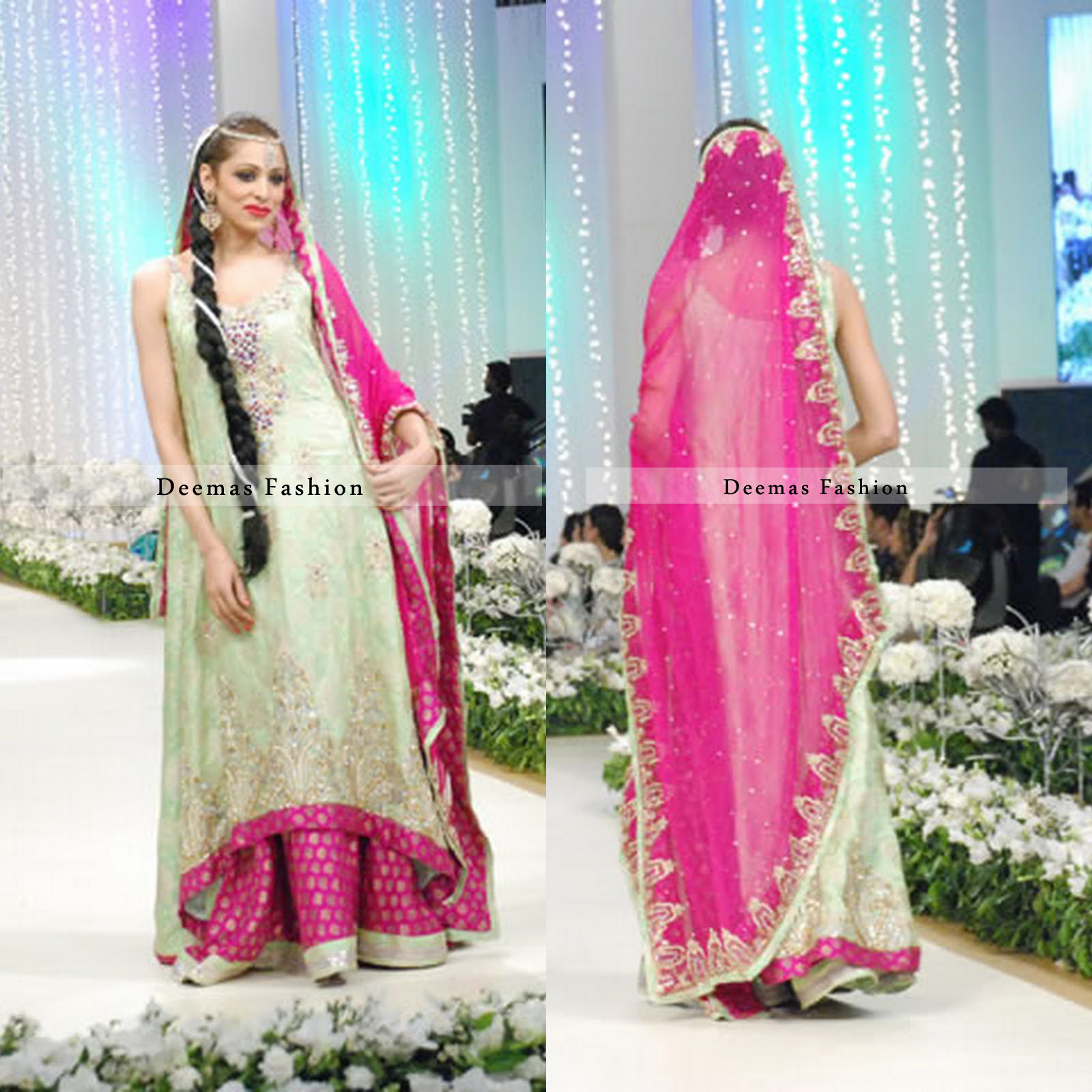 Pakistani Bridal Dress Light Green Shocking Pink Sharara