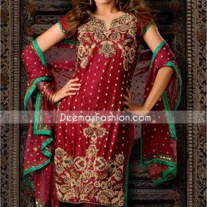 Traditional Pakistani Dress - Maroon Banarsi Churidar Suit