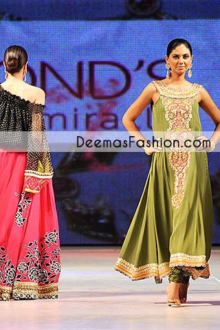 Mehndi Green Aline Party Wear Pishwas Dress