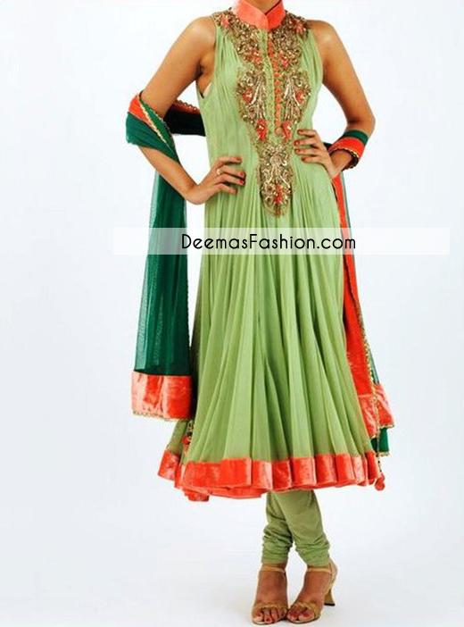 mehndi-green-bottle-green-aline-frock-churidar1