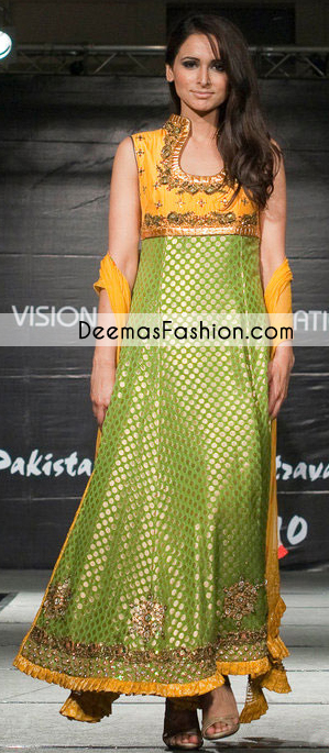 Mehndi Green Golden Yellow Formal Bridal Dress