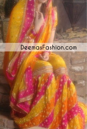 Multi Color Bridal Mehndi Wear Gharara