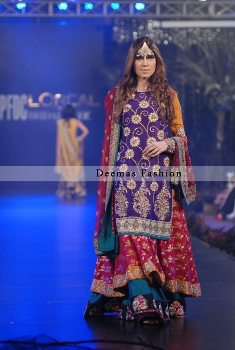 Multi Colour Double Layer Mehndi Wear Lehnga