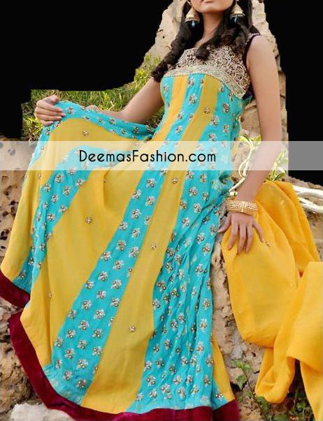 Multi Panel Bridal Wear Anarkali Pishwas