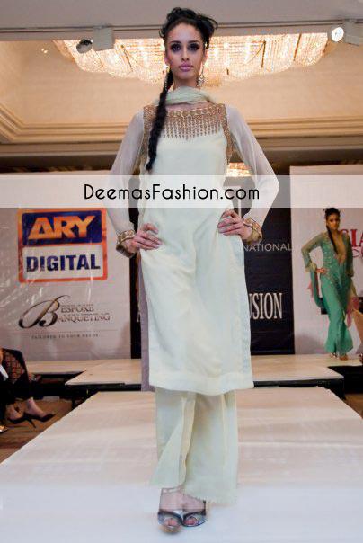 84a068c1713a Pakistani Designer Dress - Light Green Casual Wear Dress - Latest ...
