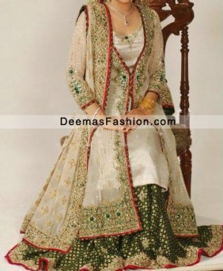 Offwhite Green Lehnga With Gown Style Long Shirt