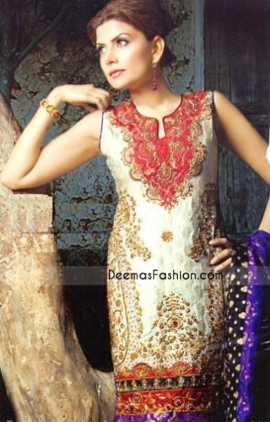 Pakistani Designer Clothes - Off White Jamawar