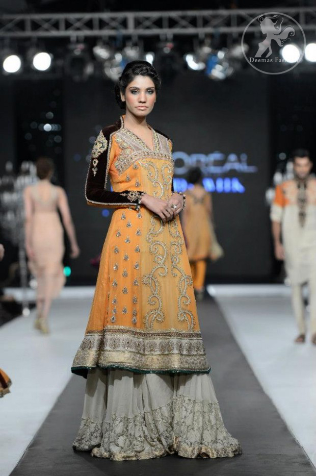 Orange Aline Frock with Fawn Lehnga