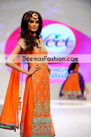 Orange heavy formal party wear / Bridal Mehndi dress