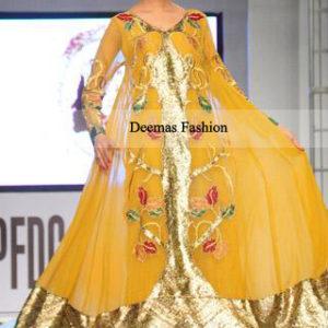 Pakistani Bridal Dress Yellow Mehndi Wear Pishwas
