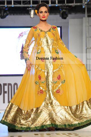 Pakistani Bridal Dress Yellow Mehndi Wear Pishwas