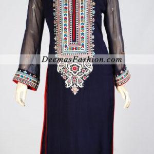 Pakistani Fashion Dress 2011 Navy Blue Casual Wear