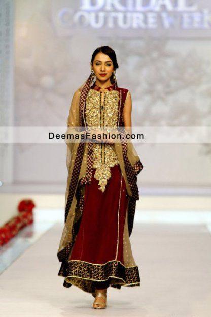 Pakistani Formal Party Wear Dress Maroon Golden A Line Dress