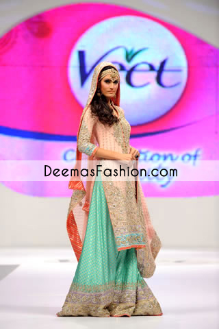 Peach Ferozi Green Designer Wear Bridal Sharara