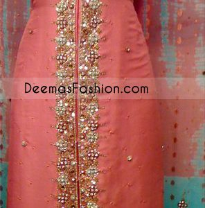 Pakistani Trousers Shirt - Peach Gown Dress