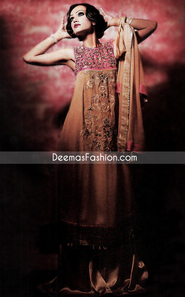 Latest Designer Wear – Brown & Shocking Pink