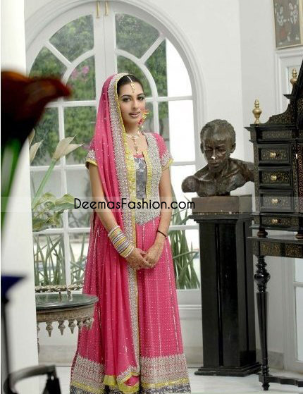 Ladies Wear Pink Anarkari Embroidered Outfit Churidar