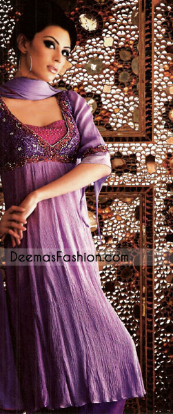 Latest Fashion Clothing Purple Chiffon Anarkali Frock