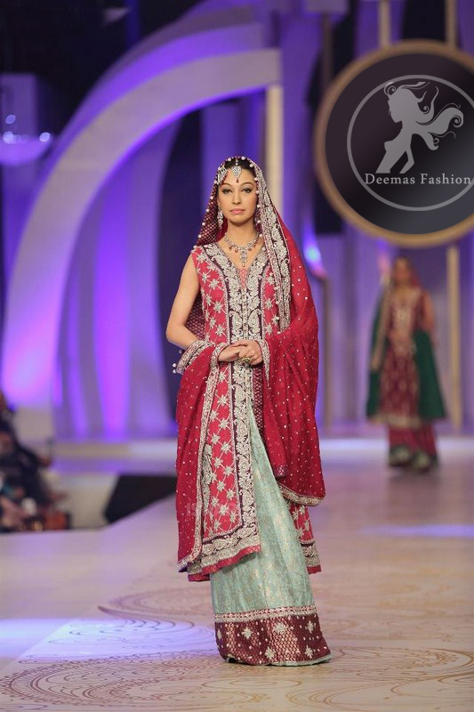 pinkish-red-front-open-gown-dupatta-with-pistachio-green-lehnga