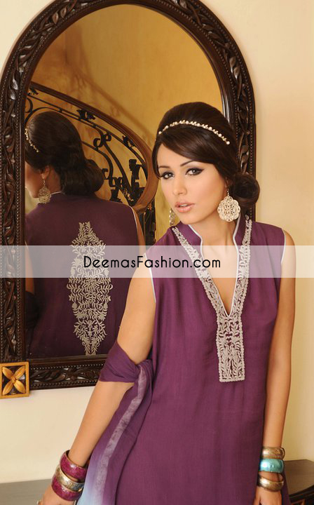 Purple Party Wear Casual Dress