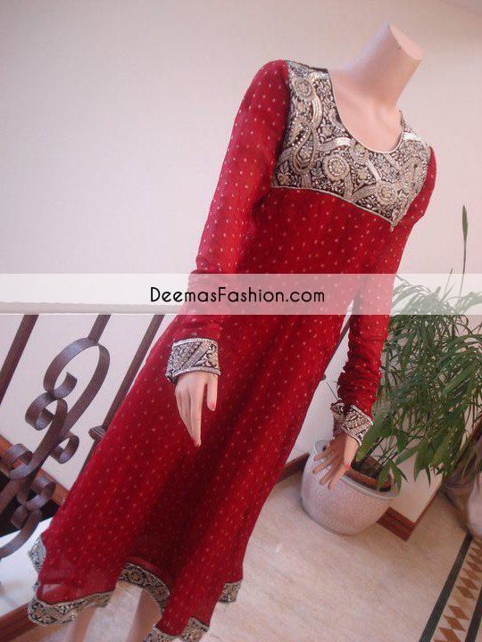 Red Aline Formal Wear Shirt Churidar