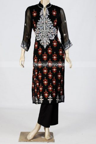 Red Black Designer Shalwar Kameez Suit