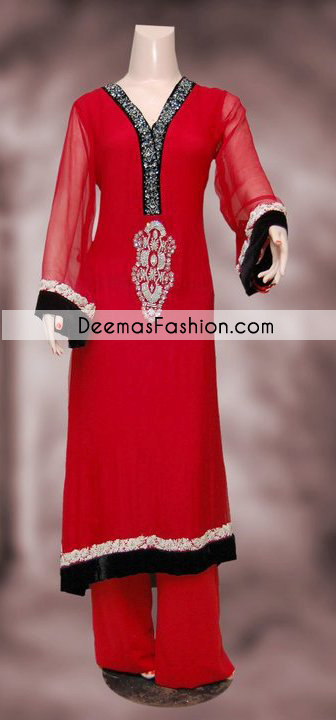 Red Black Casual Wear Designer Dress