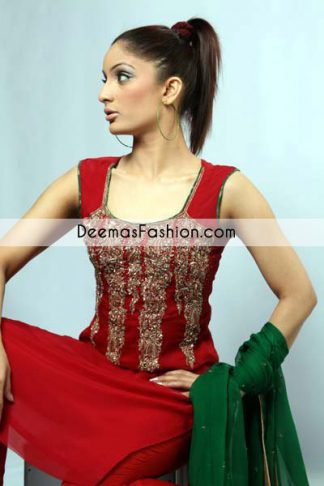 Perfected with antique gold embellishments this red chiffon shirt ensembled, is a timeless masterpiece in a chic fantacy. Decorated with mesmerizing antique kora, dabka, tilla sequins and pearls. Beautiful neckline will add glamour to your style. It comes with bottle green chiffon dupatta which is finished with jamawar piping. It is coordinated with chiffon pajama.