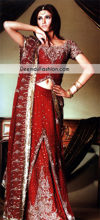 Red Bridal Wear Heavy Formal Lehenga