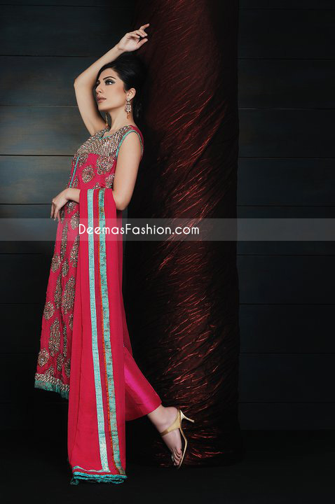 Latest Pakistani Formal Fashion - Deep Red Chiffon