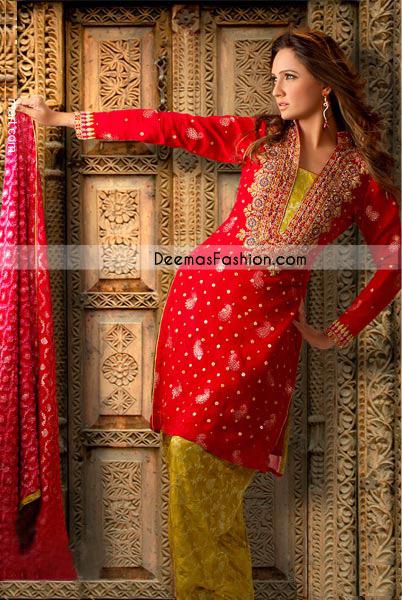 Pakistani Semi Formal Dress Red Mehndi Green Jamawar