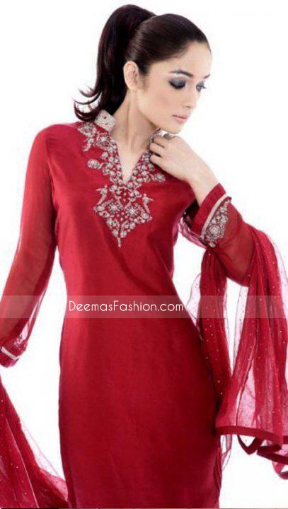 New Pakistani Ladies Dress - Red Chiffon