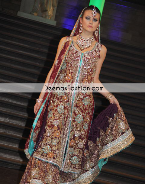 Red Dark Purple Bridal Wear Lehenga