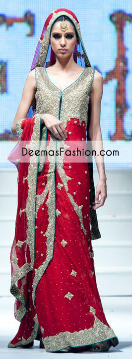 Red Designer Wear Bridal Lehnga with Train Gown