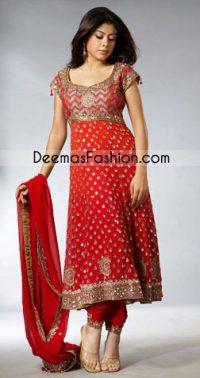 Red Embroidered Jamawar Top Pure Chiffon Frock Churi Pajama