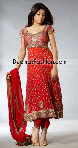 Red Embroidered Jamawar Top Pure Chiffon Frock Churi Pajama