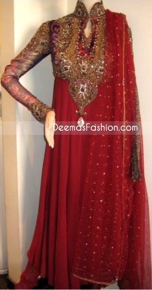 Red Embroidered Neck Pure Chiffon Frock Jamawar Dupatta - Ladies Wear Deep Red Pure Chiffon Anarkali Fashion Dress